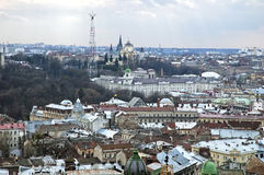 Panorama of the Lvov city from height Stock Images