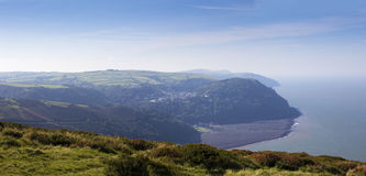 Panorama of Lynmouth and Lynton Royalty Free Stock Image