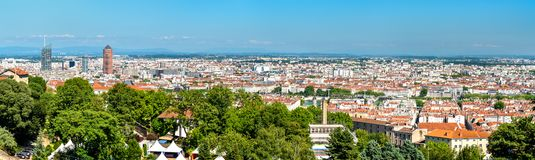 Panorama of Lyon from the Fourviere hill. France royalty free stock images