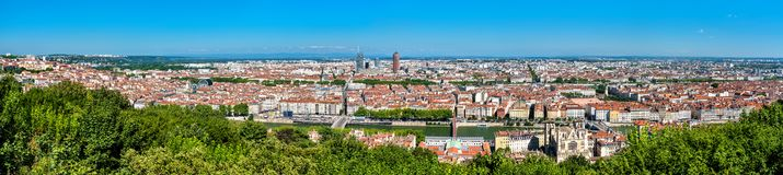 Panorama of Lyon from the Fourviere hill. France stock photos