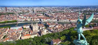 Panorama of Lyon France. Panorama of Lyon, France, viewed from the top of Notre Dame de Fourviere Stock Photos