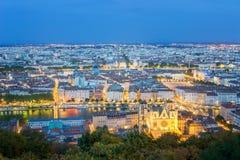 Lyon at Night, France. Panorama of Lyon at Night, France Stock Photography