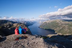 Panorama of Lysefjord, Norway Stock Photo