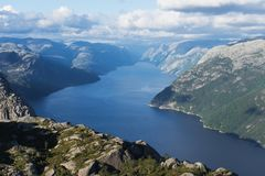 Panorama Lysefjord, Norwegia Zdjęcie Royalty Free