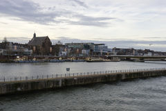 Panorama of Maastricht, Netherlands in cloudy calm winter day Royalty Free Stock Photography