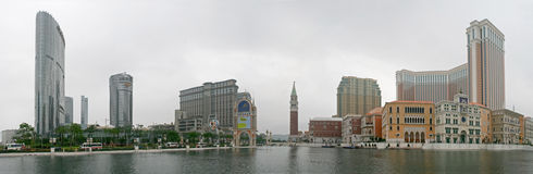 A panorama of Macaus casinos. Macau, China - May 5 - A panorama of Macaus casinos including the Venetian royalty free stock image