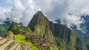 Panorama- Machu Picchu, Cusco, Peru royaltyfri foto