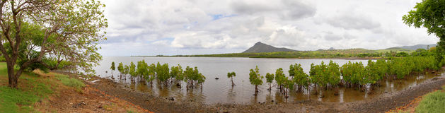 Panorama at Macondé, Mauritius. Panoramic view shot at Macondé, Mauritius Royalty Free Stock Photo