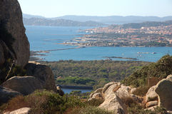 Panorama of the Maddalena from  'island of Caprera Royalty Free Stock Photography
