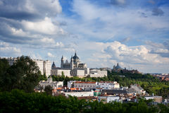 Panorama of Madrid (Spain) with the Royal Palace Royalty Free Stock Photos