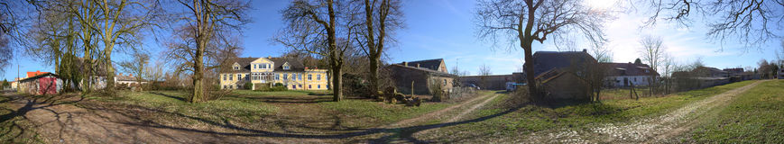 Panorama of magnificient manor house with garden in Dambeck, Mecklenburg-Vorpommern, Germany stock images