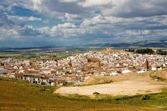 Panorama magnifico della città di Alora in Andalusia Immagini Stock
