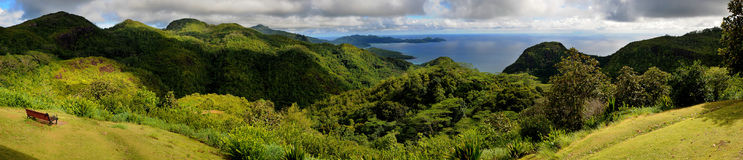 Panorama of Mahe, Seychelles. Panoramic view of Mahe island mountains, Seychelles Royalty Free Stock Photo