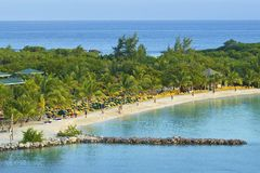 Panorama of Mahogany Bay in Roatan, Honduras. Mahogany Bay in Roatan, Honduras Royalty Free Stock Photos