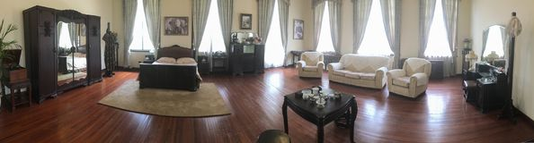 Mei-ling Palace in Nanjing city,China. Panorama of main bedroom in Mei-ling Palace. The palace is named after Soong Mei-ling 1898-2003, First Lady of the stock photos