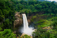 Panorama of main cascade of Ekom waterfall at Nkam river, Cameroon Stock Images