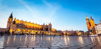 Panorama of the main old town market of Cracow Stock Photo