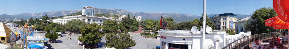 Panorama of the main square of the city of Yalta, Crimea Ukraine,   was taken in August 2012 Stock Image