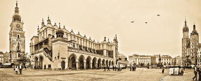 Panorama of main square in Krakow Royalty Free Stock Photography