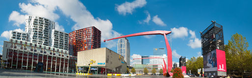 Panorama the main square of Rotterdam, the Netherlands Royalty Free Stock Photo