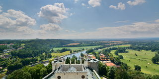 Panorama from the main tower. Hluboká Castle. Hluboká nad Vltavou. Czech Republic Royalty Free Stock Image
