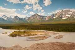Panorama of majestic snowy mountains Royalty Free Stock Images