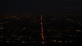 Panorama majestuoso de Los Ángeles céntrico en la noche metrajes