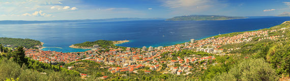 Panorama of Makarska and Adriatic sea,Brac Island in background, Royalty Free Stock Photography