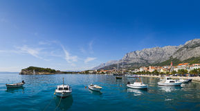 Panorama of Makarska in Croatia. Resort travel background Stock Photos