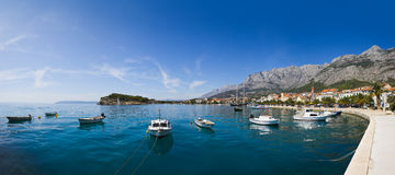 Panorama of Makarska in Croatia. Resort travel background royalty free stock photos