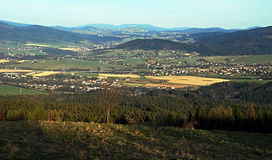 Panorama from Mala Kycera hill in Moravskoslezske Beskydy mountains Stock Photo