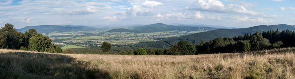 Panorama from Mala Kycera hill in spring Moravskoslezske Beskydy mountains in Czech republic Royalty Free Stock Image
