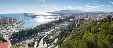 Panorama of Malaga cityscape and harbour Stock Photo