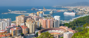 Panorama of Malaga. In a summer day Royalty Free Stock Photos