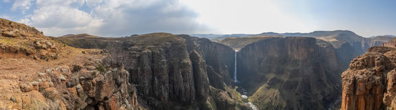 Panorama of the Maletsunyane Falls and large canyon in the mountainous highlands near Semonkong, Lesotho, Africa. Panorama of the 192m high Maletsunyane Falls Stock Photo