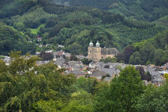 Panorama Malmedy. View at Malmedy, Belgium. It lies in the country's Walloon Region, Province of Liège. It belongs to the French Community of Belgium Stock Photo
