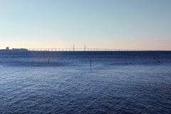 Panorama of Malmo. Panorama of the great bridge from the port area of Malmo Stock Photos