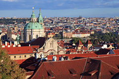 Panorama of Malostranske namesti, Prague Old Town with red roofs Royalty Free Stock Image