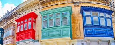 Panorama of Maltese balconies, Rabat, Malta royalty free stock photo