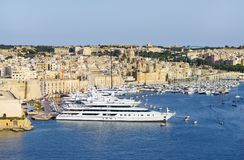 Panorama of the Maltese capital city Valletta. Fort St. Angelo of La Vittoriosa in Malta Stock Photography