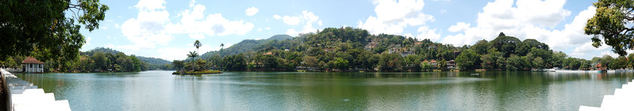 The panorama of man-made Kandy lake Stock Images