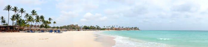 Panorama from Manchebo beach on Aruba island. In the Caribbean sea Stock Image