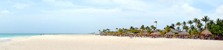 Panorama from Manchebo beach on Aruba island. In the Caribbean sea Royalty Free Stock Images