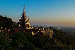 Panorama of Mandalay. Sunset on the top of a hill of Mandalay Stock Photos