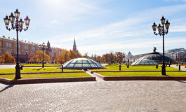 Panorama of Manege Square in Moscow in autumn Royalty Free Stock Image