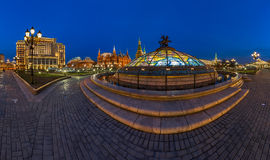 Panorama of Manege Square and Moscow Kremlin in the Evening Stock Photo