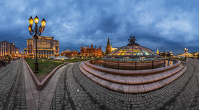Panorama of Manege Square and Moscow Kremlin in the Evening Royalty Free Stock Photo