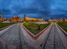 Panorama of Manege Square and Moscow Kremlin in the Evening Stock Photography