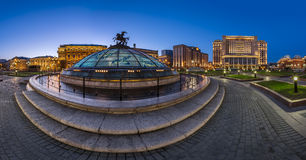 Panorama of Manege Square and Moscow Kremlin in the Evening Royalty Free Stock Image