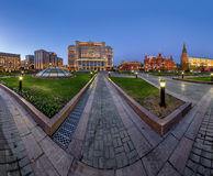 Panorama of Manege Square and Moscow Kremlin in the Evening Stock Images